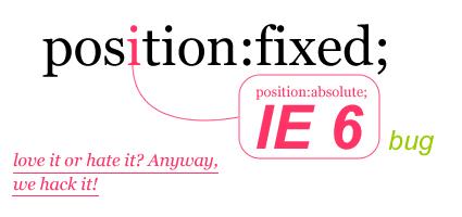 IE6position:fixedbug(固定窗口办法 )