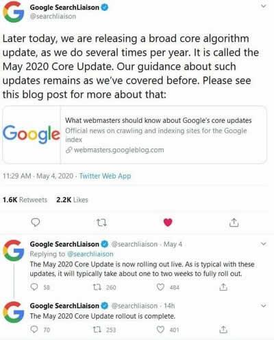 Google搜索2020年5月核心算法更新 Google 微新闻 第1张