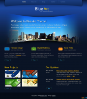 蓝弧酷炫风 蓝色企业旅游网页html模板